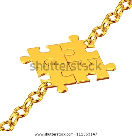 Shiny gold chains with the collected puzzles