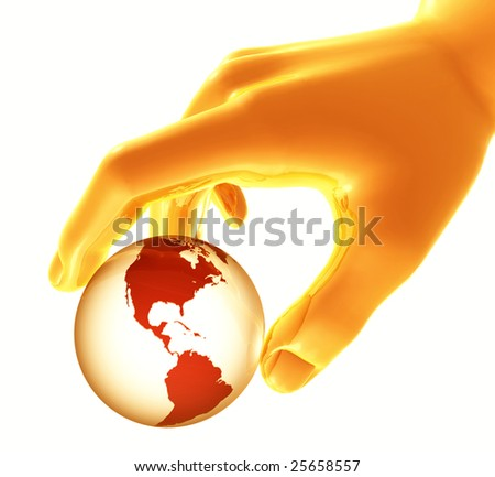 Shiny gold hand playing and controlling the world