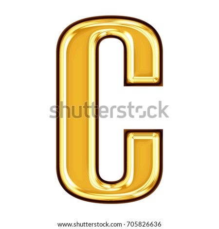 7259939ac472 Shiny gold metallic uppercase or capital letter C in a 3D illustration with  a rich golden