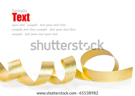 Shiny gold ribbon bow on white background with copy space