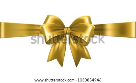 Shiny gold satin ribbon on white background.