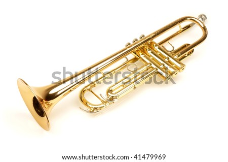 Shiny gold trumpet on white background