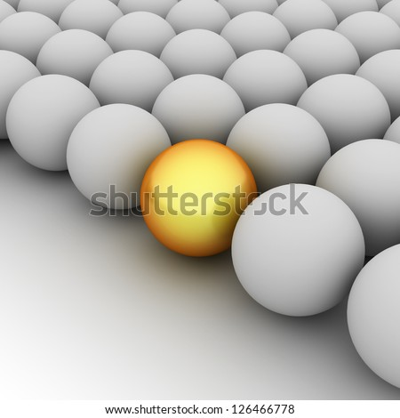 Shiny golden ball with grey spheres as abstract background