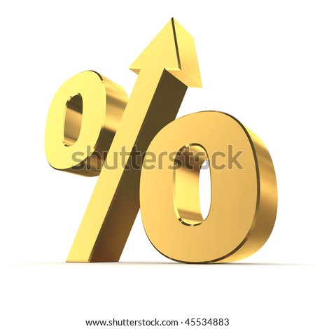 shiny golden percentage symbol with an arrow up