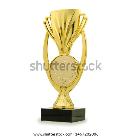Shiny golden statue award cup for first place rewarding on white background #1467282086