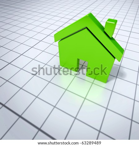shiny green 3d rendered house on a shiny white grid