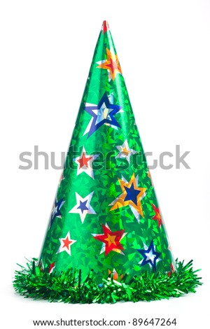 Shiny green party hat on white background