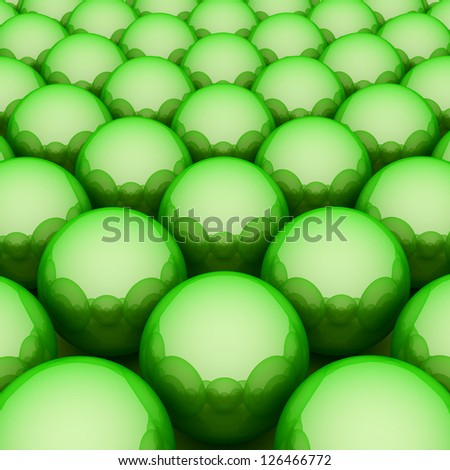 Shiny green spheres as abstract background
