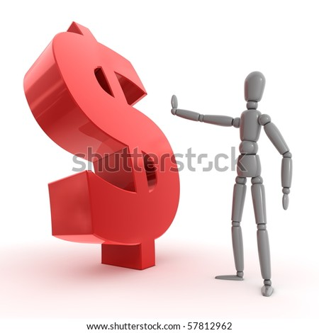 shiny grey person is stopping a shiny glossy red dollar sign - side view