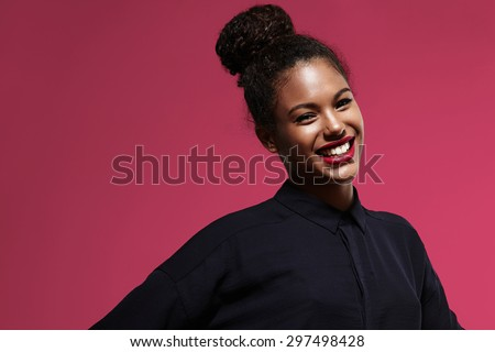 shiny happy black woman with a bright lipstick #297498428