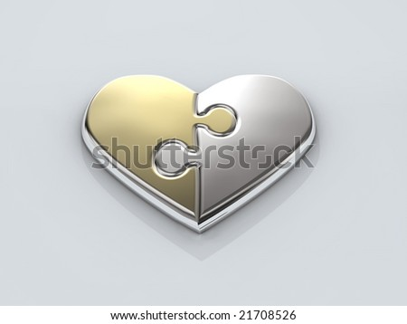 shiny heart from two parts