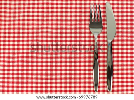 shiny knife and fork on a red and white checkered tablecloth