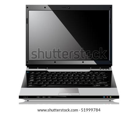 Shiny Laptop illustration hover white background