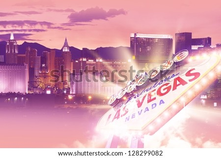 Shiny Las Vegas Background. Ultraviolet Vegas Background Theme with Las Vegas City Entrance Sign. Las Vegas, Nevada, USA. Famous Places Photo Collection.