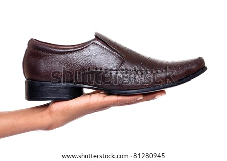 shiny man's shoe isolated on white