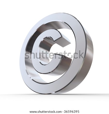 shiny metal copyright sign - silver/chrome style - low camera angle