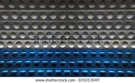 shiny metal grey and blue background with circles