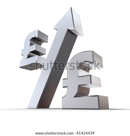 shiny metal percentage symbol with an arrow up, zero replaced by pound sterling symbols