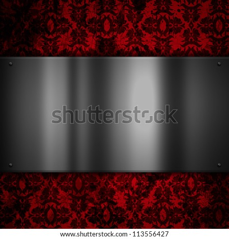 Shiny metal plate on a floral grunge background - stock photo
