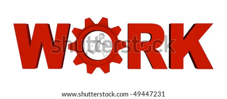 Shiny metal red letters along with gear forming WORK word; great for work, process, career and business concepts.