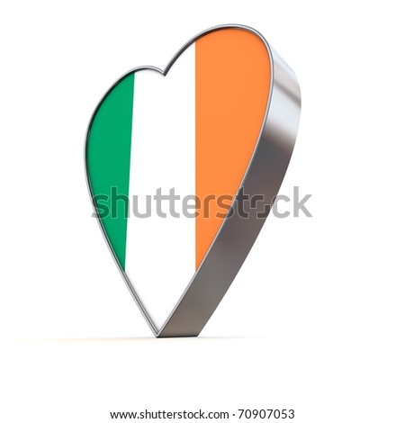 shiny metallic 3d heart of silver/chrome - front surface shows the irish flag