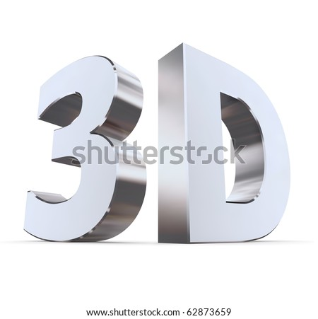 shiny metallic 3d word 3D made of silver/chrome - characters at right angles