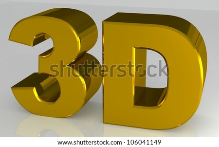 shiny metallic 3d word .gold