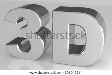 shiny metallic 3d word. silver