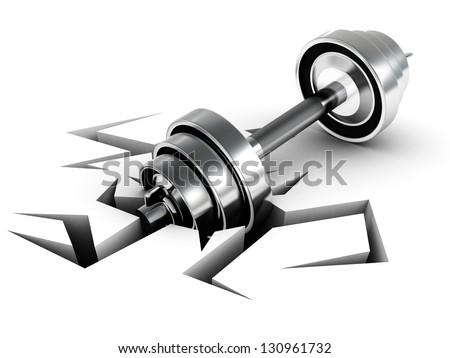 shiny metallic dumbbell on white background