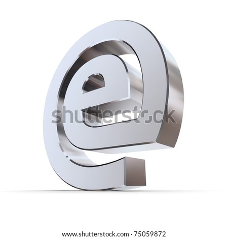 shiny metallic e sign in an AT symbol look - silver/chrome style - low camera angle - stock photo