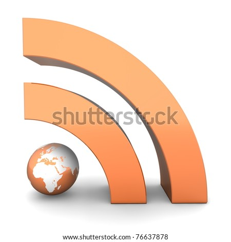 shiny metallic orange RSS symbol rendered in 3D on white ground - front view