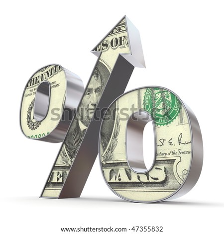 shiny metallic percentage symbol with an arrow up - front surface textured with a 5 dollar note