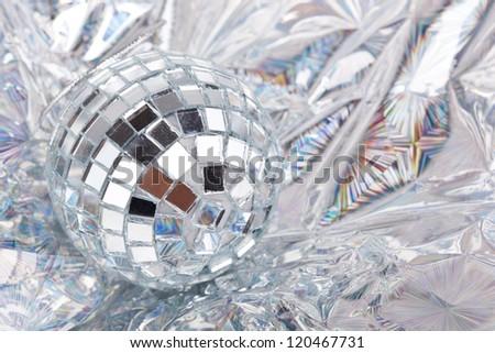Shiny Mirrored disco ball closeup