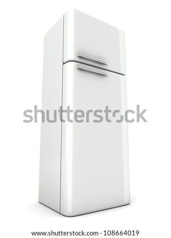 shiny modern white refrigerator on white background - stock photo