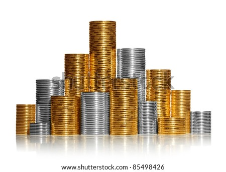 Shiny new coins stack isolated on white