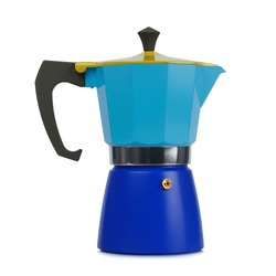 Shiny new italian coffee maker isolated on white background