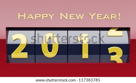 Shiny New Year counter with happy new year wish revealing the year 2013.