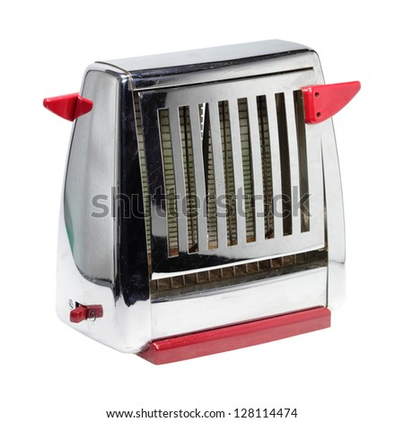 Shiny old toaster in front of white background.