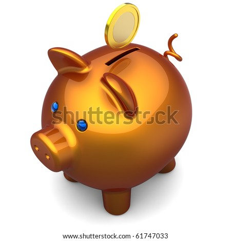Shiny orange Piggy bank with a gold coin over it. Savings concept. The top-side view. 3D render. Isolated on white