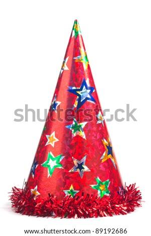 Shiny party hat on white background