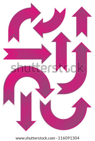 shiny pink and purple patterned arrow set  raster version