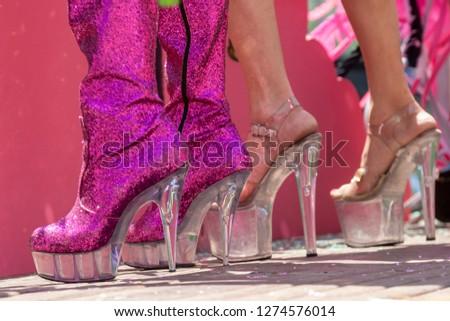 shiny pink platform boots high heeled sandals ,striptease dancing #1274576014