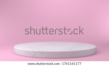 Shiny pink round marble pedestal podium. Abstract high quality 3d concept illuminated pedestal by spotlights on white background. Futuristic marble background. 3d render. Can be used on banners, web.