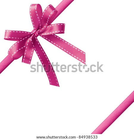 Shiny Pink satin ribbon on white background with copy space