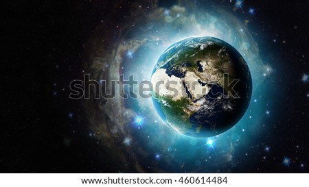 Shiny Planet Earth 3D Illustration - Beautiful Cosmic Globe Background - Middle Eastern Map (Elements of this image furnished by NASA)
