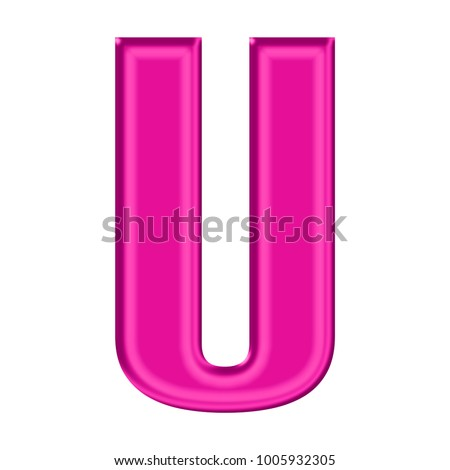 Shiny Plastic Pink Uppercase Or Capital Letter U In A 3D Illustration With Satiny Silky