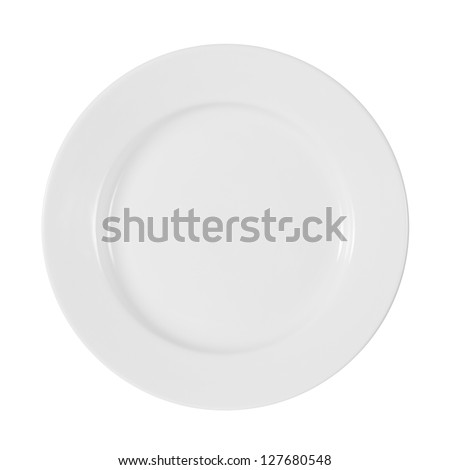 shiny plate isolated on white with clipping path included