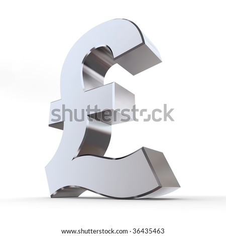 shiny pound symbol in a chrome and metal look
