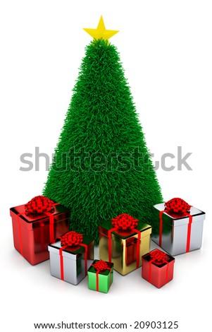 Shiny presents & Christmas tree - stock photo