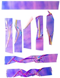 Shiny purple crumpled stickers. Cool set of metallic holographic sticky tape shapes isolated on white background. Holo glitter stripes or snips.